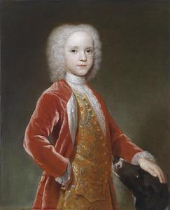 Portret van een jongen met zijn hond