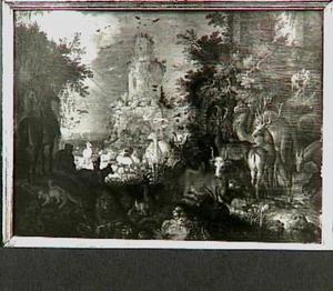 Landschap met dieren en ruïne