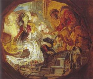 Ahasveros reikt Ester zijn gouden scepter toe (Ester 5:2)