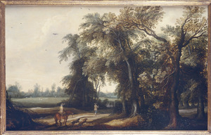 Landschap met enkele figuren op een weg bij een bos
