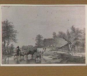 Landschap met boerderij, herder en vee