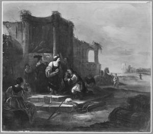 Rebekka geeft Eliëzer te drinken bij de bron (Genesis 24:17-18)