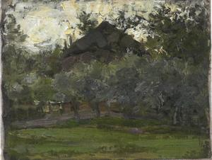 Hooimijt achter een rij bomen