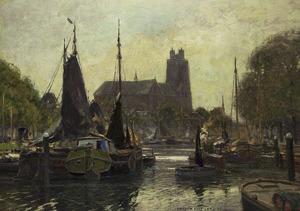 Gezicht op de Grote of Onze-Lieve-Vrouwekerk vanaf de Nieuwe Haven in Dordrecht