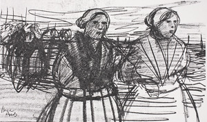 Twee vrouwen aan het strand van Scheveningen