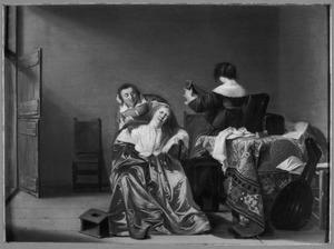 Vrouwen, musicerend en toiletmakend in een interieur