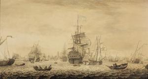 Hollandse en Engelse schepen en een V.O.C. schip op de Nieuwe Maas voor Rotterdam