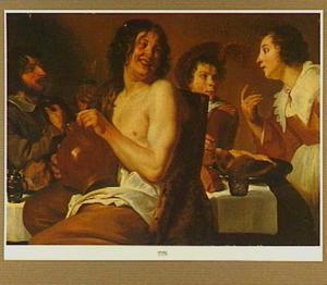 Drie etende en drinkende mannen rond een tafel met een dienstmeid terzijde