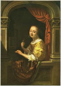 Een jonge vrouw met een vogeltje op haar hand in een venster