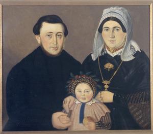 Portret van Petrus Johannes Schillemans  (1836-1897), Charlotte Morres (1834-1893) en Amelia Schillemans (1865-1940)