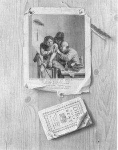 Trompe l'oeil met een prent naar Adriaan Brouwer (Het Gevoel)