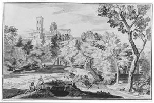 Italiaans landschap met klooster