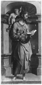 De evangelist Matteüs (op de voorzijde: Mozes trekt zijn schoenen aan)