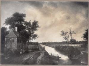 De Leidsevaart ter hoogte van Heemstede met Haarlem in het verschiet