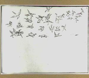 Studies van vogels en vechtende figuren