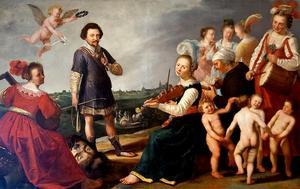 Stadhouder Frederik Hendrik als David staande voor Den Bosch