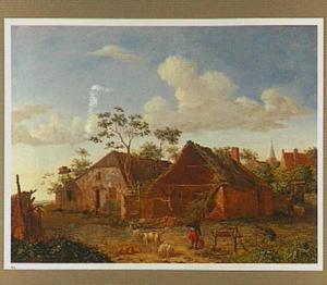 Landschap met boerderij aan de rand van een dorp