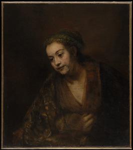 Halffiguur van een jonge vrouw in fantasiekleding