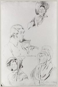 Portret van Johannes van Oostveen (1793-1848) en drie vrouwen