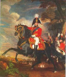 George IV als Prins van Wales, met Lord Heathfield, Generaal Turner, Kolonel Bloomfield en Baron Eben; Kolonel Quinton in de verte