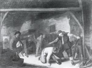 Interieur met boeren die blindemannetje spelen
