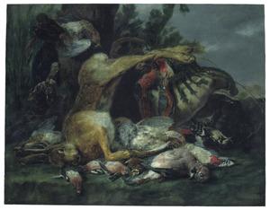 Jachtbuit van haas en gevogelte met links bij de boom een kat