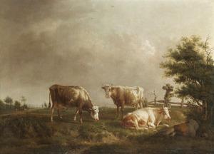 Landschap met koeien en een slapende herder