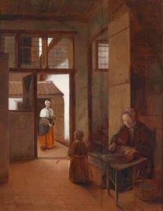 Interieur met een vrouw en een kind; op de binnenplaats veegt een dienstbode de stoep