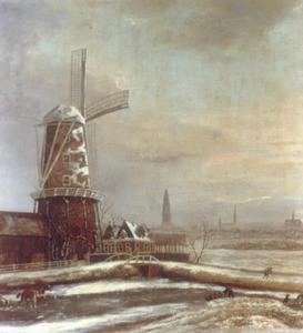 De Halfswegmolen aan het Boterdiep; in the achtergrond de stad Groningen