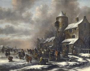 Winterlandschap met schaatsers op een bevroren rivier in een dorp