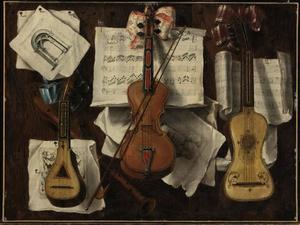 Trompe l'oeil met muziekinstrumenten