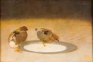 Twee kuikens op een tinnen bord