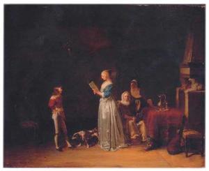 Brieflezende dame en andere figuren in een interieur