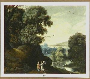 Boslandschap met Tobias en de engel