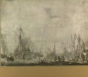 het Prinsenjacht en het Statenjacht, vermoedelijk de komst van Karel II van Engeland afwachtende, bij Moerdijk, 1660