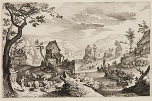 Heuvellandschap met dorp aan een rivier en een kudde koeien