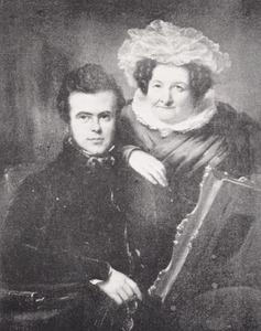 Dubbelportret van Isaac Lambertus van den Berch (Bergh) (1811-1879)  en Maria Cremer (1774-1836)