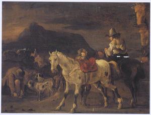 Ruiters en pissend paard in een bergachtig landschap