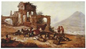 Heuvellandschap met herders en vee bij een ruïne