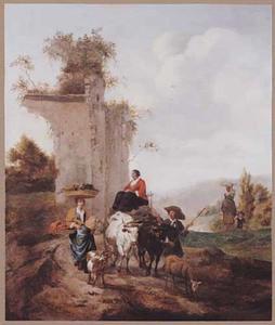 Zuidelijk landschap met boeren met een ossenkar op weg