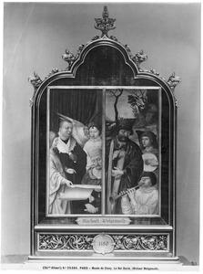 Twee niet geïdentificeerde figuren, mogelijk de stichter en een profeet, omringd door engelen met een muziekblad (links); Koning David en musicerende engelen (rechts)