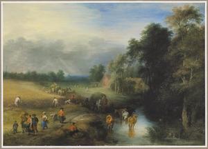 Landschap met reizigers en boeren bij een drenkplaats, links oogstende boeren