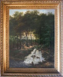 Boslandschap met een waterval
