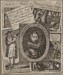 Advertentieblad met afbeelding van vijf prenten waaronder het portret van Abraham Bloemaert (1566-1651)
