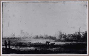 Dordrecht gezien vanuit het zuiden