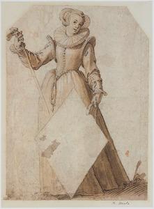 Staande vrouw, een ruitvormig wapenschild vasthoudend