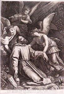 De Heilige Franciscus ondersteund door engelen