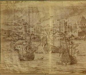 De komst van het Engelse eskader voor de kust van Bergen in Noorwegen, 2-12 augustus 1665