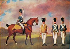 Korporaal en soldaten van het Tiende Regiment Lichte Dragonders