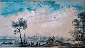 Riviergezicht met boten en figuren